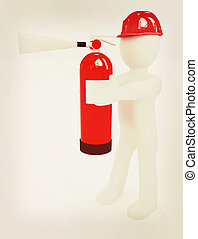 3d man in hardhat with red fire extinguisher . 3D...