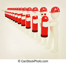 3d mans in hardhat with red fire extinguisher . 3D...