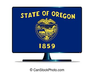 Oregon Flag TV - A TV or computer screen with the Oregon...