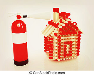Red fire extinguisher and log house from matches pattern. 3D...