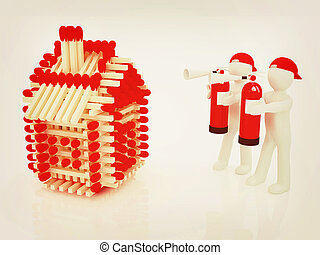 3d man with red fire extinguisher and log houses from...