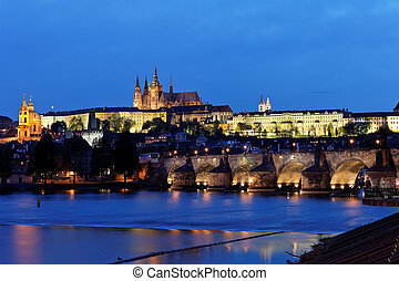 Prague, Charles Bridge and Prague Castle Hradcany at night -...