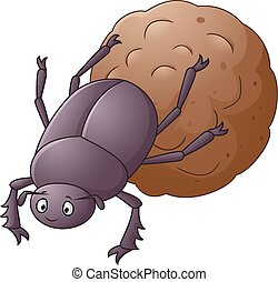 Dung Beetle with a Big Ball of Poop - Vector illustration of...