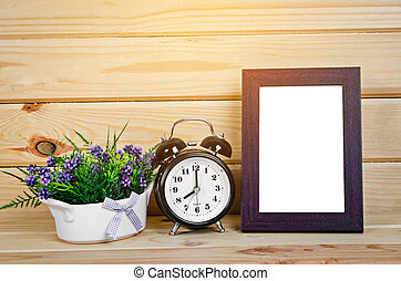Blank wood photo frame and alarm clock - Blank wood photo...
