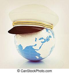 Marine cap on Earth . 3D illustration. Vintage style. -...