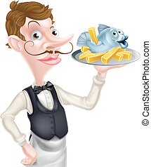 Butler Holding Fish and Chips Tray - An Illustration of a...