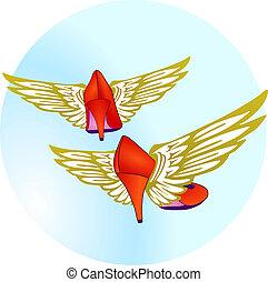 flying high heels