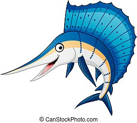 Marlin fish cartoon - Vector illustration of marlin fish...