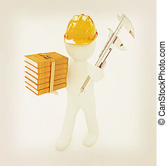 3d man engineer in hard hat with vernier caliper and best...