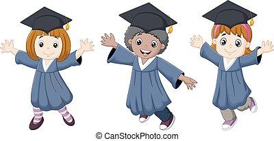 Cartoon Graduation Celebration - Vector illustration of...