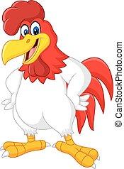 Cartoon rooster posing - Vector illustration of Cartoon...