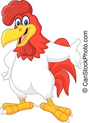 Cartoon rooster presenting - Vector illustration of Cartoon...
