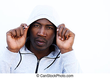 Young african man in hooded sweatshirt - Close up portrait...