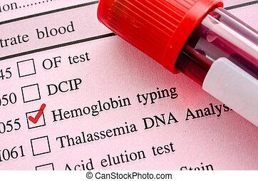 hemoglobina, digitando, teste