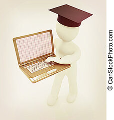 3d man in graduation hat with laptop . 3D illustration....
