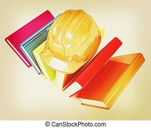Colorful books and hard hat . 3D illustration. Vintage...