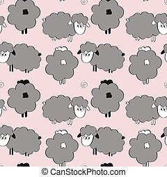 Cute cartoon lambs - Sheep seamless pattern