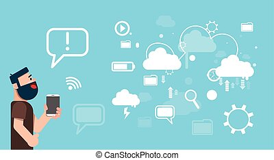 Business Man Hold Tablet Share Data Cloud Computing Technology