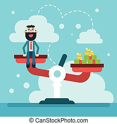 Balance Scale Business Man With Money