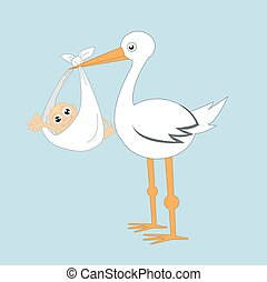 Stork and baby vector illustration