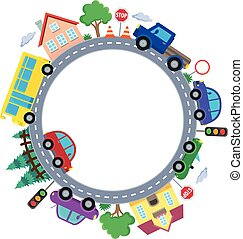 Circle with cars theme image 1 - eps10 vector illustration