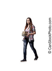 Student with books isolated on the white background
