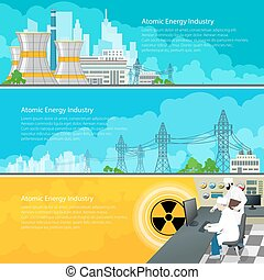 Nuclear Power Plant Horizontal Banners with Text, Nuclear...