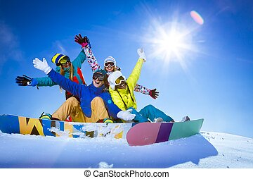 Winter sports - People with snowboards outdoors