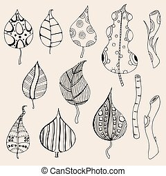 Hand drawn artwork Forest leaves - Forest leaves. Vector....