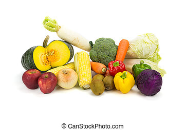 Variety fresh vegetable isolated on white background.