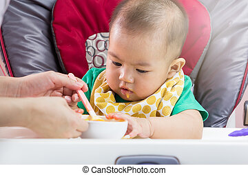 Mother feeding baby food to her child