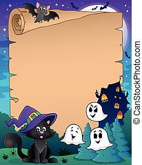 Parchment with Halloween cat