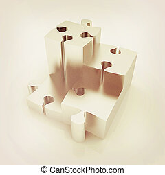 Concept of growth of metall puzzles . 3D illustration....