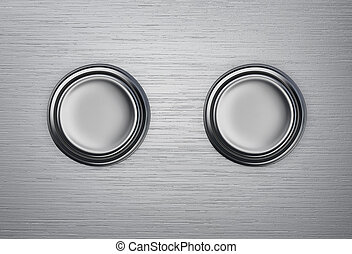 Two buttons on a metal background. 3D rendering