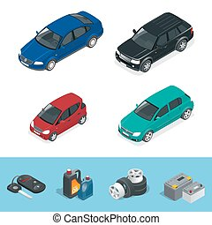 Car isometric. Tire service car auto, repair icons flat set...