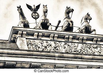 Brandenburg Gate Quadriga in Berlin, Germany.