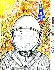 Cartoon Painted Astronaut - Watercolor astronaut in a...