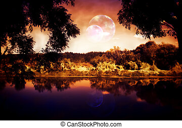 Night Forest and River - Night sky over the forest and the...