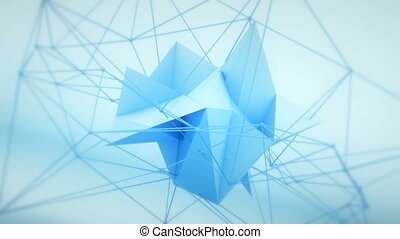 Futuristic network polygonal 3D shape loopable