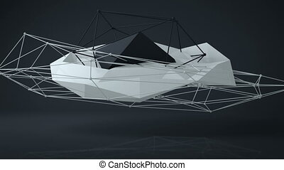 Black and white futuristic construction. 3D Render Loopable