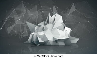 Futuristic network shape. Abstract 3d render animation loop...