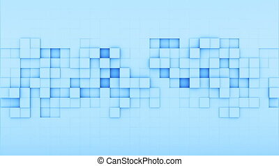 Blue squares 3D render loopable animation - Blue squares. 3D...