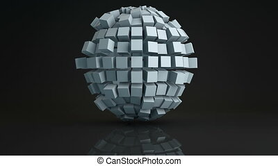 Ball cluster of cubes deforming 3D render loopable