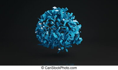 Ball cluster of bricks abstract shape 3D render loopable -...