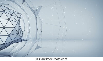 Grey polygonal network shape. Abstract 3D render animation -...