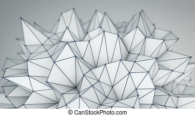 Spiky low poly shape. Futuristic 3D render - Spiky low poly...