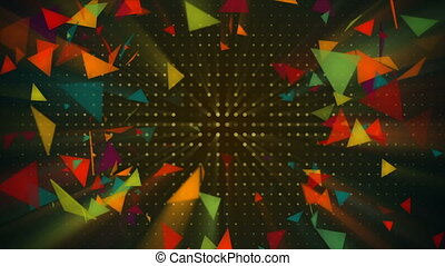 Shiny colorful triangles flying. Seamless loop abstract 3d...