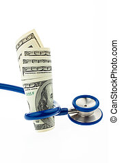 Costs of health with dollar bills and stethoscope