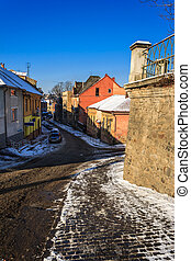 paths diverge in old town winter - paths diverge early...