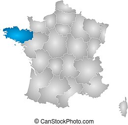 Map - France, Brittany - Map of France with the provinces,...